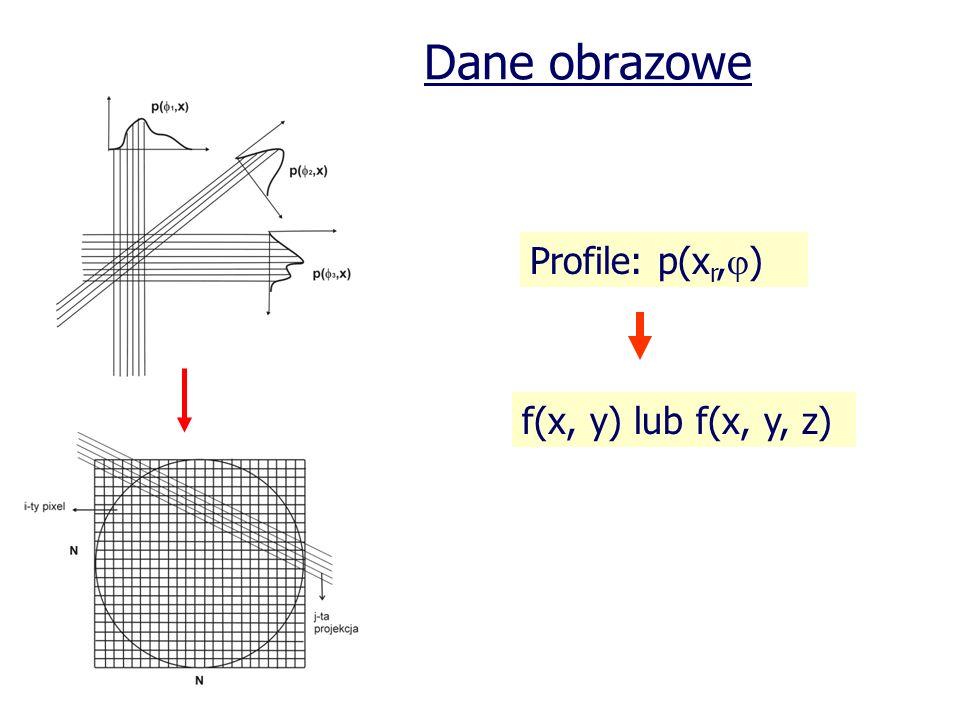 Dane obrazowe Profile: p(x r, ) f(x, y) lub f(x, y, z)