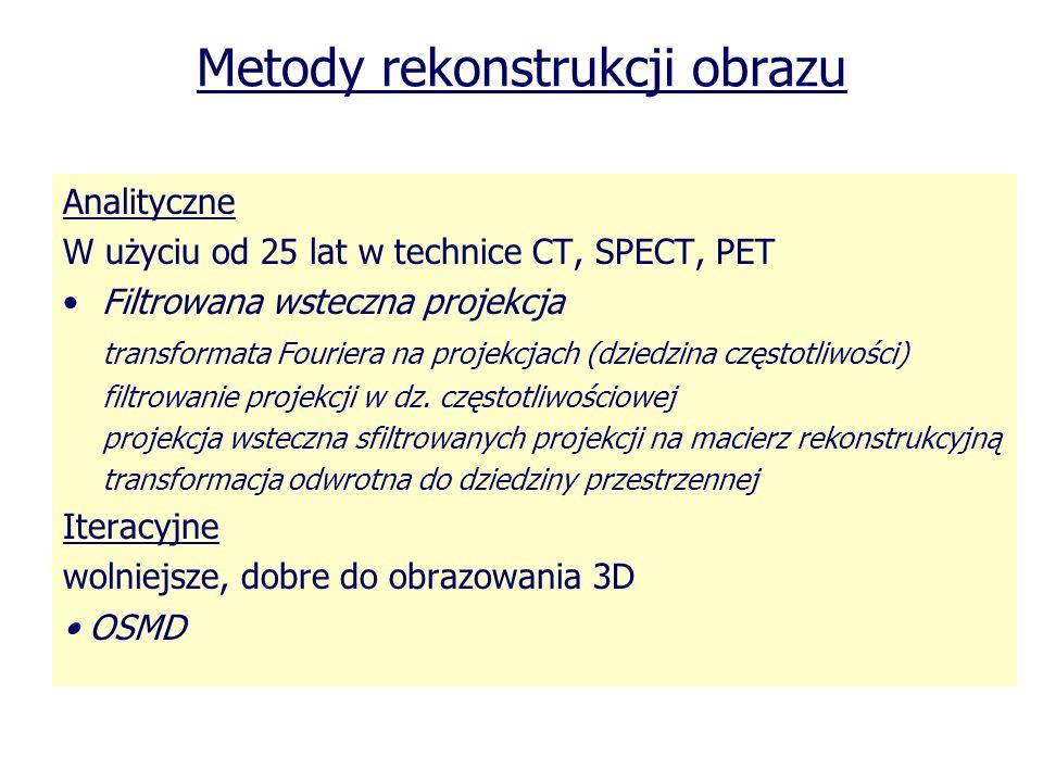 Metody rekonstrukcji obrazu Analityczne W użyciu od 25 lat w technice CT, SPECT, PET Filtrowana wsteczna projekcja transformata Fouriera na projekcjac