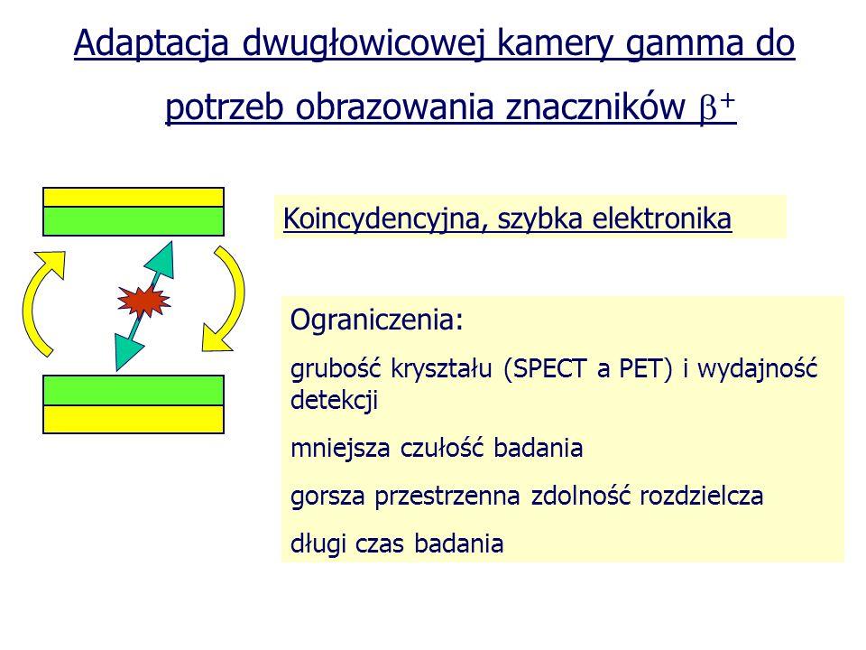 Adaptacja dwugłowicowej kamery gamma do potrzeb obrazowania znaczników + Koincydencyjna, szybka elektronika Ograniczenia: grubość kryształu (SPECT a P