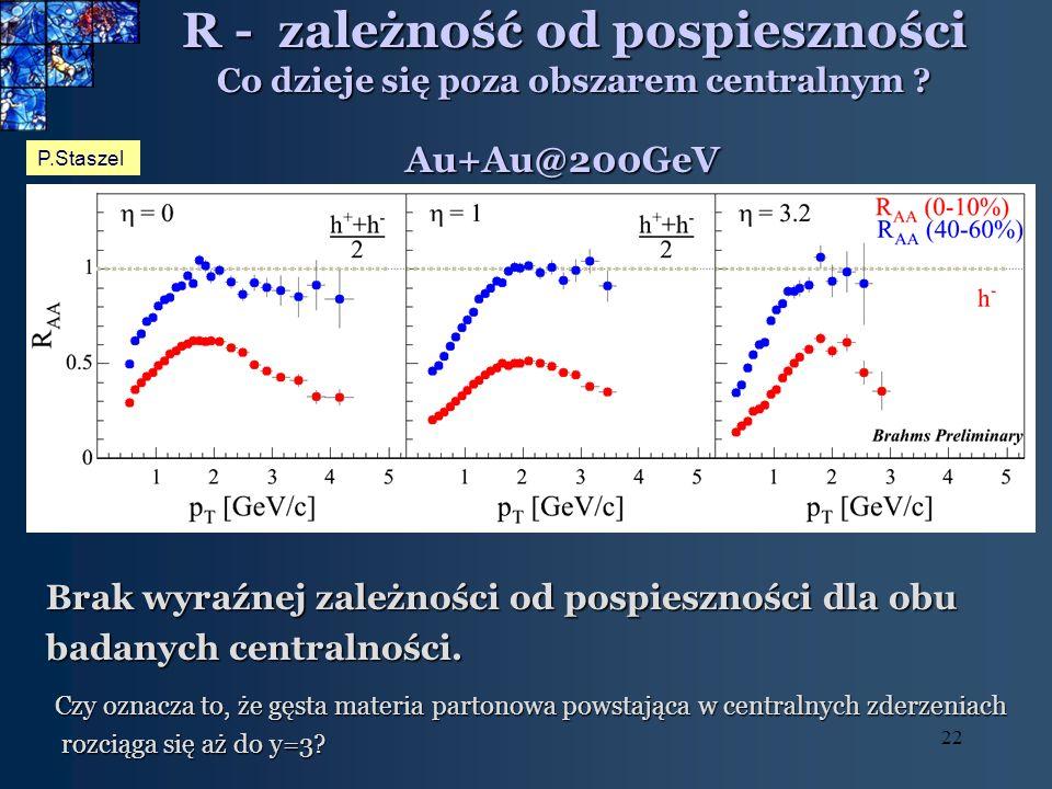 22 R - zależność od pospieszności Co dzieje się poza obszarem centralnym ? Brak wyraźnej zależności od pospieszności dla obu badanych centralności. P.