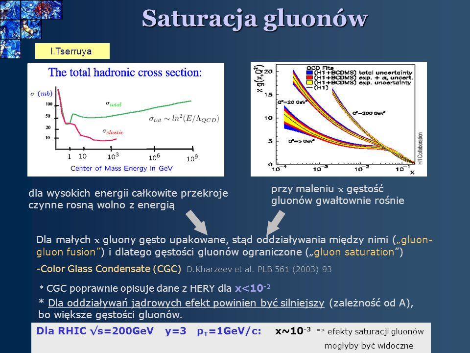 25 Saturacja gluonów I.Tserruya dla wysokich energii całkowite przekroje czynne rosną wolno z energią Dla małych x gluony gęsto upakowane, stąd oddziaływania między nimi (gluon- gluon fusion) i dlatego gęstości gluonów ograniczone (gluon saturation) -Color Glass Condensate (CGC) D.Kharzeev et al.
