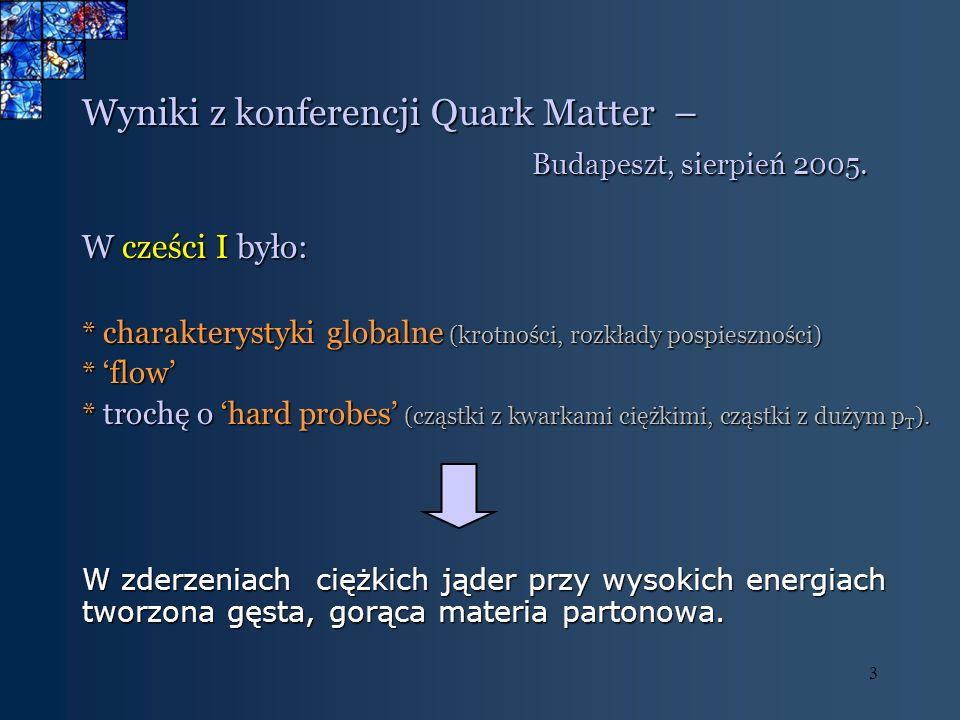 3 Wyniki z konferencji Quark Matter – Budapeszt, sierpień 2005. Budapeszt, sierpień 2005. W cześci I było: * charakterystyki globalne (krotności, rozk