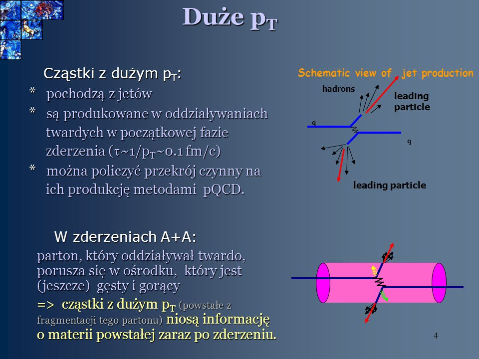 4 Duże p T Cząstki z dużym p T : Cząstki z dużym p T : * pochodzą z jetów * są produkowane w oddziaływaniach twardych w początkowej fazie twardych w początkowej fazie zderzenia ( ~1/p T ~0.1 fm/c) zderzenia ( ~1/p T ~0.1 fm/c) * można policzyć przekrój czynny na ich produkcję metodami pQCD.
