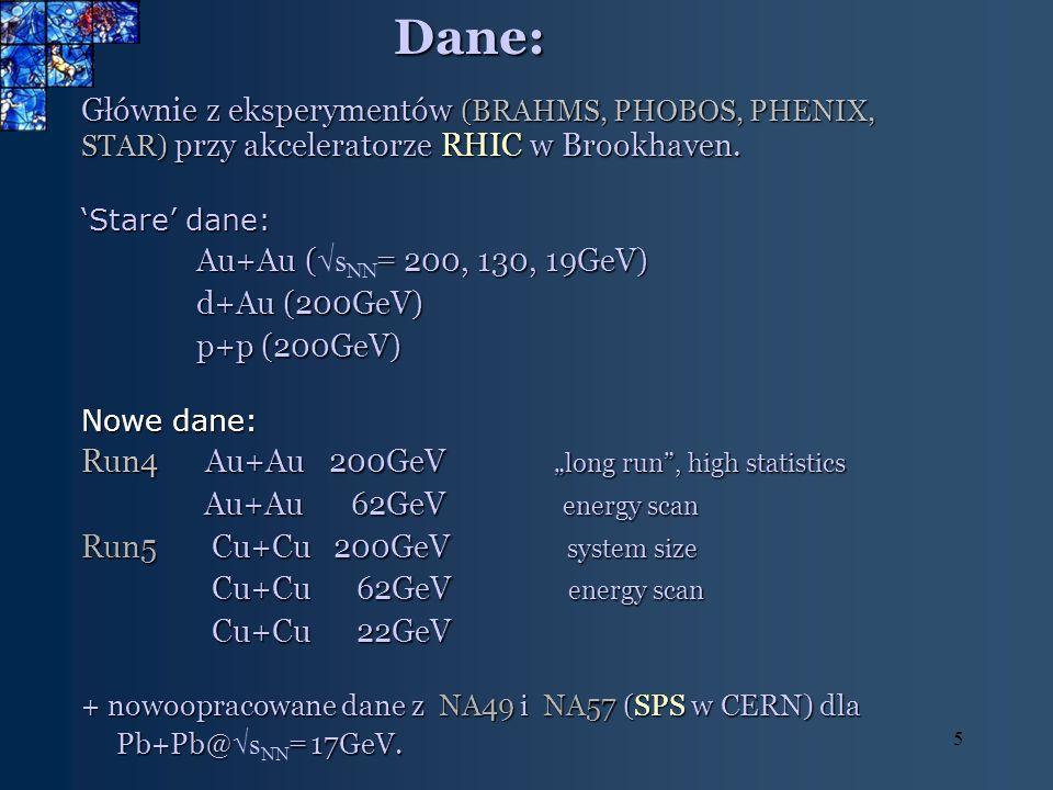 5Dane: Głównie z eksperymentów (BRAHMS, PHOBOS, PHENIX, STAR) przy akceleratorze RHIC w Brookhaven. Stare dane: Au+Au ( = 200, 130, 19GeV) Au+Au ( s N