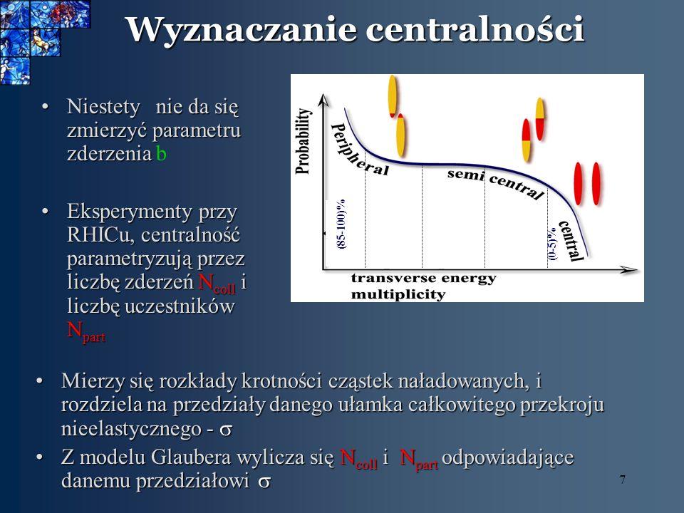 7 Wyznaczanie centralności Niestety nie da się zmierzyć parametru zderzeniaNiestety nie da się zmierzyć parametru zderzenia b Eksperymenty przy RHICu,