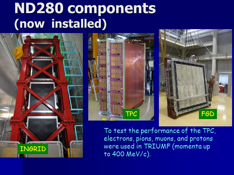 ND280 components (now installed) To test the performance of the TPC, electrons, pions, muons, and protons were used in TRIUMF (momenta up to 400 MeV/c).