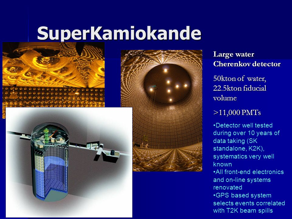 SuperKamiokande Large water Cherenkov detector 50kton of water, 22.5kton fiducial volume >11,000 PMTs Detector well tested during over 10 years of dat