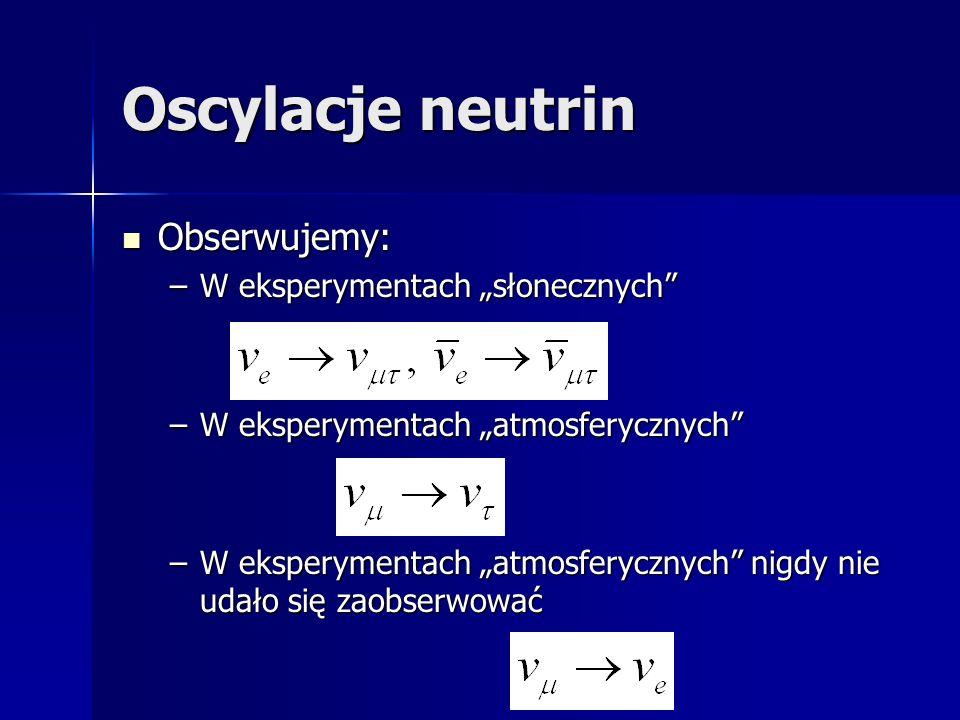 Oscylacje neutrin Obserwujemy: Obserwujemy: –W eksperymentach słonecznych –W eksperymentach atmosferycznych –W eksperymentach atmosferycznych nigdy nie udało się zaobserwować