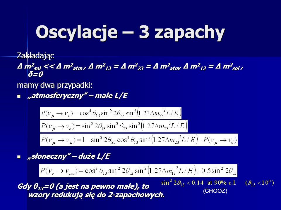 Oscylacje – 3 zapachy Zakładając Δ m 2 sol << Δ m 2 atm, Δ m 2 13 = Δ m 2 23 = Δ m 2 atm, Δ m 2 12 = Δ m 2 sol, δ=0 mamy dwa przypadki: atmosferyczny – małe L/E atmosferyczny – małe L/E słoneczny – duże L/E słoneczny – duże L/E Gdy θ 13 =0 (a jest na pewno małe), to wzory redukują się do 2-zapachowych.