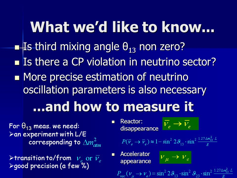 What wed like to know... Is third mixing angle θ 13 non zero.