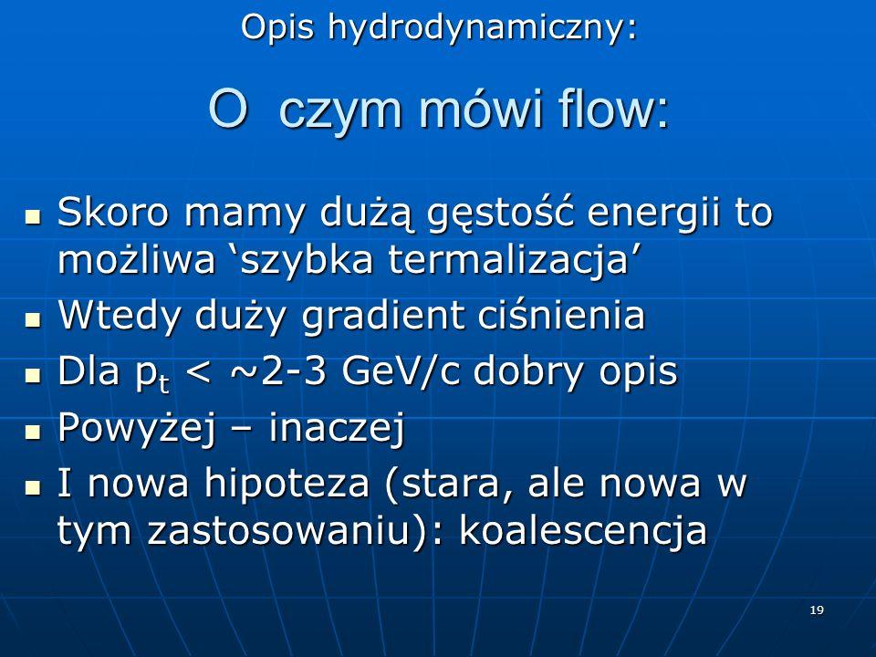 19 O czym mówi flow: Skoro mamy dużą gęstość energii to możliwa szybka termalizacja Skoro mamy dużą gęstość energii to możliwa szybka termalizacja Wte