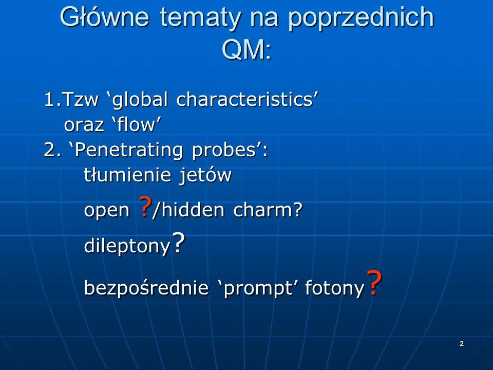 2 Główne tematy na poprzednich QM: 1.Tzw global characteristics 1.Tzw global characteristics oraz flow oraz flow 2. Penetrating probes: 2. Penetrating