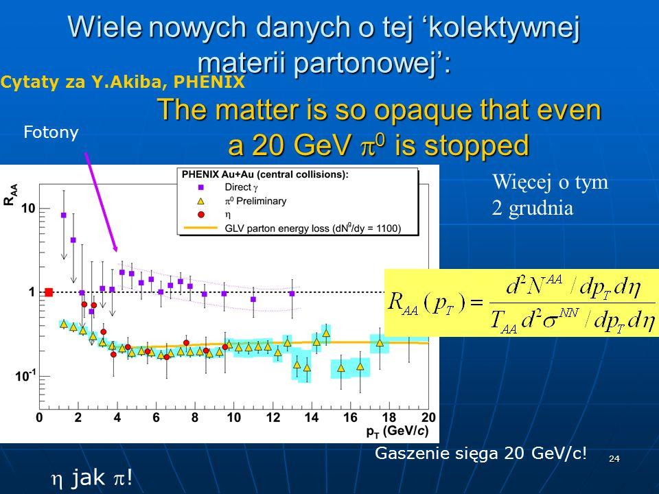 24 Wiele nowych danych o tej kolektywnej materii partonowej: The matter is so opaque that even a 20 GeV 0 is stopped jak ! Cytaty za Y.Akiba, PHENIX G