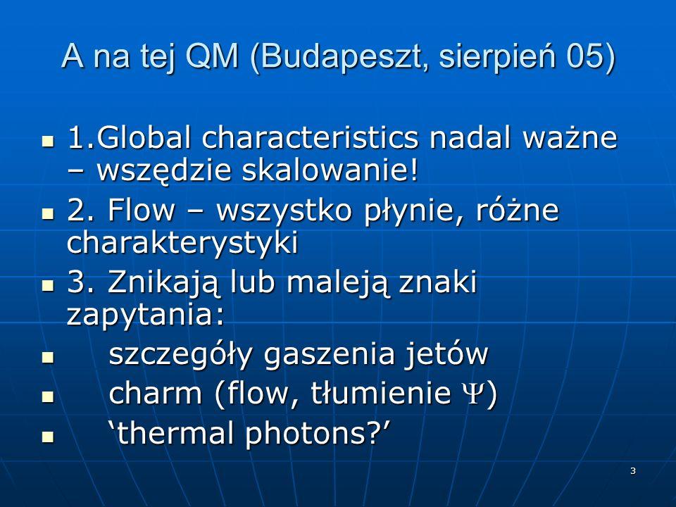 3 A na tej QM (Budapeszt, sierpień 05) 1.Global characteristics nadal ważne – wszędzie skalowanie! 1.Global characteristics nadal ważne – wszędzie ska