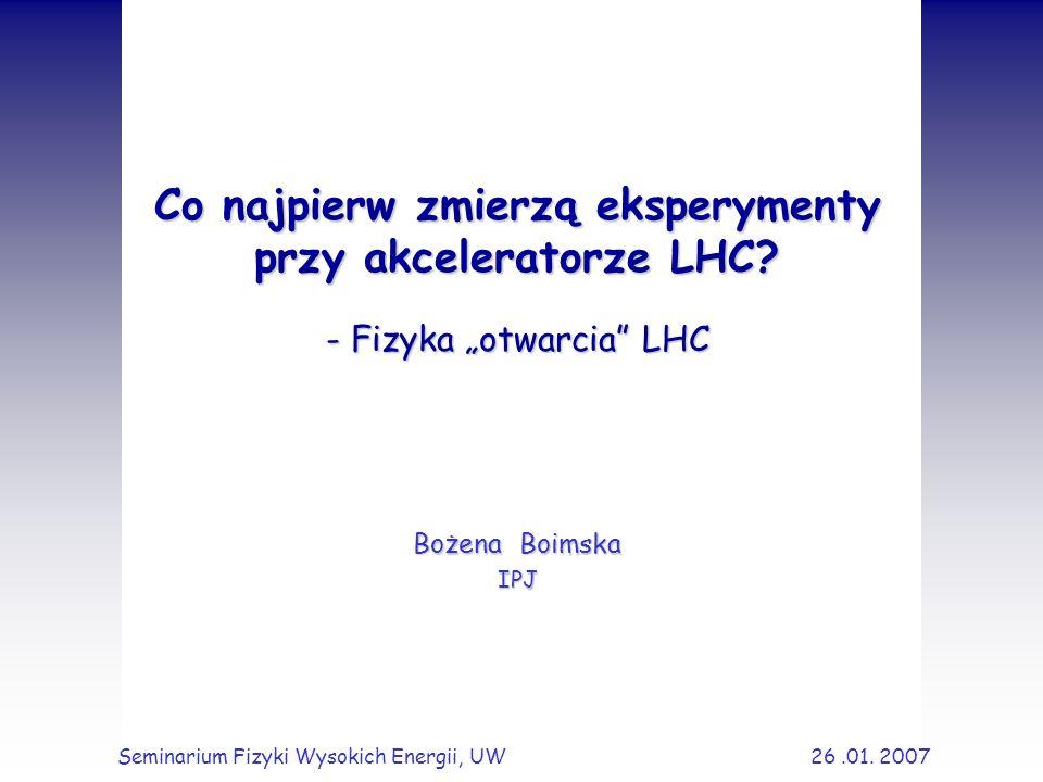 2 Plan Wprowadzenie Akcelerator LHC i jego eksperymenty Pomiary: całkowity i elastyczny przekrój czynny krotność cząstek pęd poprzeczny produkcja jetów analiza underlying event Podsumowanie