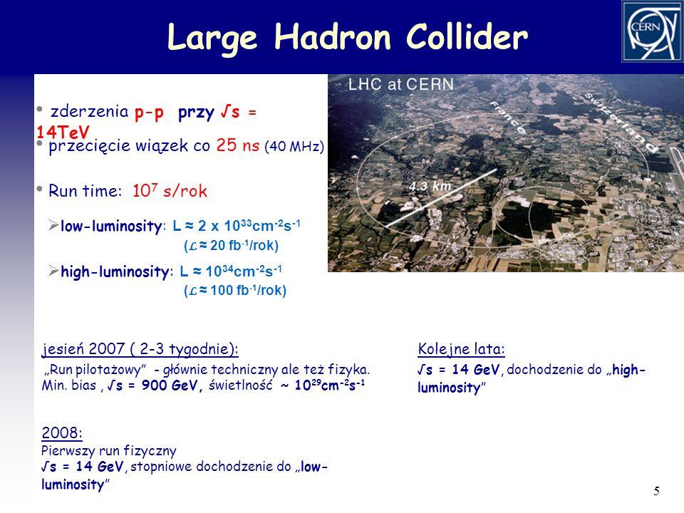 6 Eksperymenty przy LHC ATLAS (A Toroidal LHC ApparatuS) & CMS (Compact Muon Solenoid) - dedykowane badaniom p+p - zoptymalizowane dla dużych p T i high-luminosity ALICE (A Large Ion Collider Experiment) - dedykowany badaniom HI - różne typy detektorów - zoptymalizowany dla niskich świetlności, wysokich krotności - idealny do badań fizyki małych p T - bardzo dobra identyfikacja cząstek (szczególnie w obszarze centralnym) LHC–B fizyka b TOTEM (zintegrowany z CMS) całkowity przekrój czynny, rozpraszanie elastyczne, dyfrakcja (wyznaczenie świetlności akceleratora)
