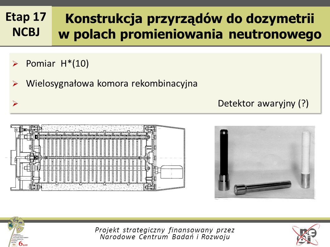 Projekt strategiczny finansowany przez Narodowe Centrum Badań i Rozwoju Konstrukcja przyrządów do dozymetrii w polach promieniowania neutronowego Pomi