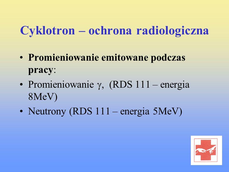 Cyklotron – ochrona radiologiczna Promieniowanie emitowane podczas pracy: Promieniowanie, (RDS 111 – energia 8MeV) Neutrony (RDS 111 – energia 5MeV)