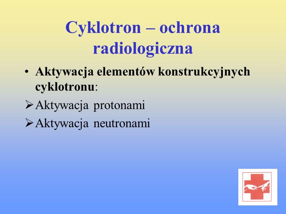 Cyklotron – ochrona radiologiczna Aktywacja elementów konstrukcyjnych cyklotronu: Aktywacja protonami Aktywacja neutronami