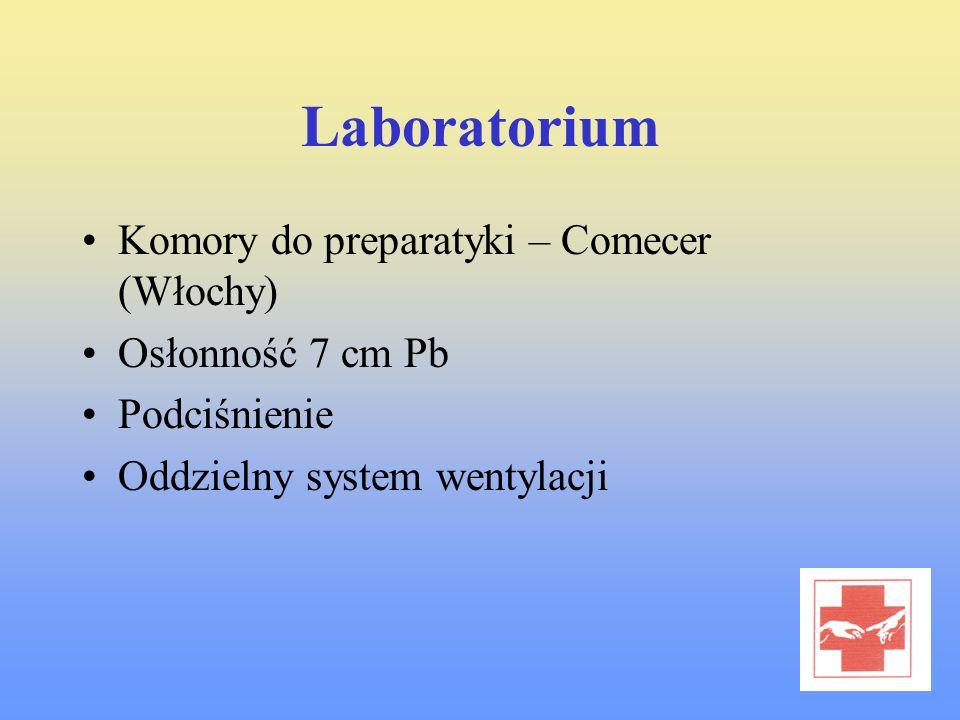 Laboratorium Komory do preparatyki – Comecer (Włochy) Osłonność 7 cm Pb Podciśnienie Oddzielny system wentylacji