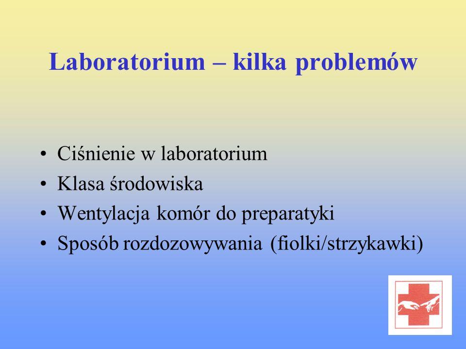 Laboratorium – kilka problemów Ciśnienie w laboratorium Klasa środowiska Wentylacja komór do preparatyki Sposób rozdozowywania (fiolki/strzykawki)