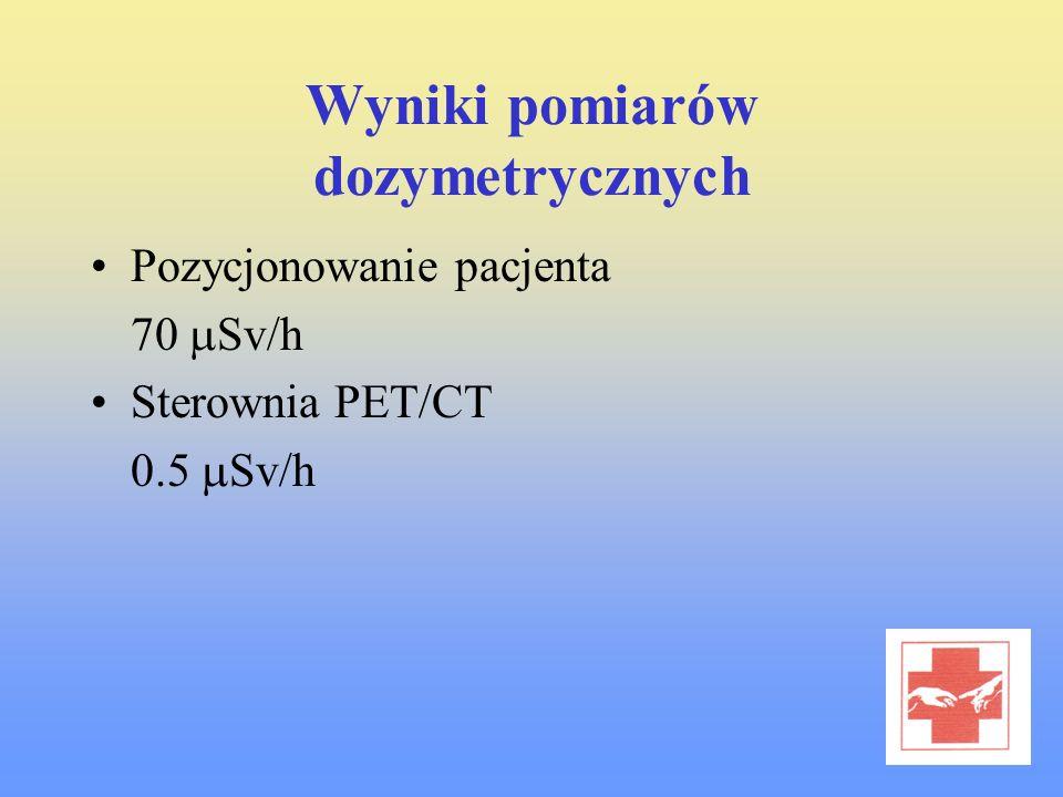 Wyniki pomiarów dozymetrycznych Pozycjonowanie pacjenta 70 Sv/h Sterownia PET/CT 0.5 Sv/h