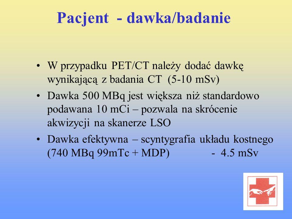 Pacjent - dawka/badanie W przypadku PET/CT należy dodać dawkę wynikającą z badania CT (5-10 mSv) Dawka 500 MBq jest większa niż standardowo podawana 1