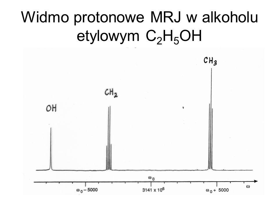 Widmo protonowe MRJ w alkoholu etylowym C 2 H 5 OH