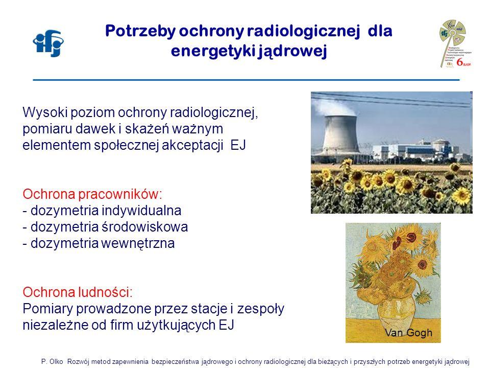 Wysoki poziom ochrony radiologicznej, pomiaru dawek i skażeń ważnym elementem społecznej akceptacji EJ Ochrona pracowników: - dozymetria indywidualna - dozymetria środowiskowa - dozymetria wewnętrzna Ochrona ludności: Pomiary prowadzone przez stacje i zespoły niezależne od firm użytkujących EJ Potrzeby ochrony radiologicznej dla energetyki j ą drowej P.