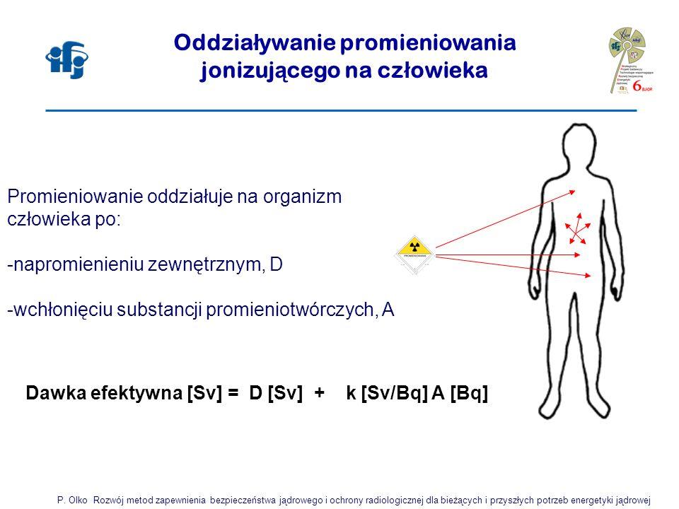 Promieniowanie oddziałuje na organizm człowieka po: -napromienieniu zewnętrznym, D -wchłonięciu substancji promieniotwórczych, A Oddzia ł ywanie promieniowania jonizuj ą cego na cz ł owieka P.