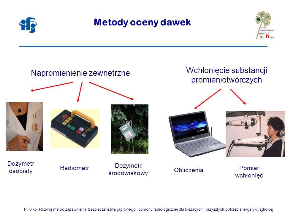 Metody oceny dawek Napromienienie zewnętrzne Wchłonięcie substancji promieniotwórczych Dozymetr osobisty Radiometr Dozymetr środowiskowy Obliczenia Pomiar wchłonięć P.