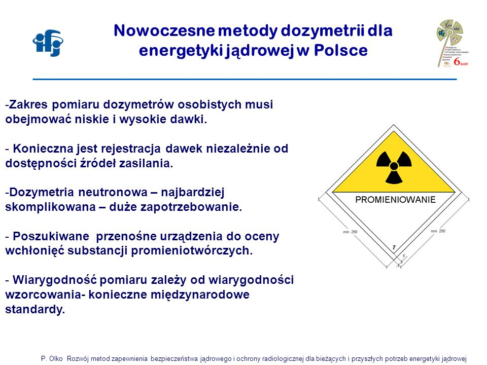 Nowoczesne metody dozymetrii dla energetyki j ą drowej w Polsce -Zakres pomiaru dozymetrów osobistych musi obejmować niskie i wysokie dawki. - Koniecz