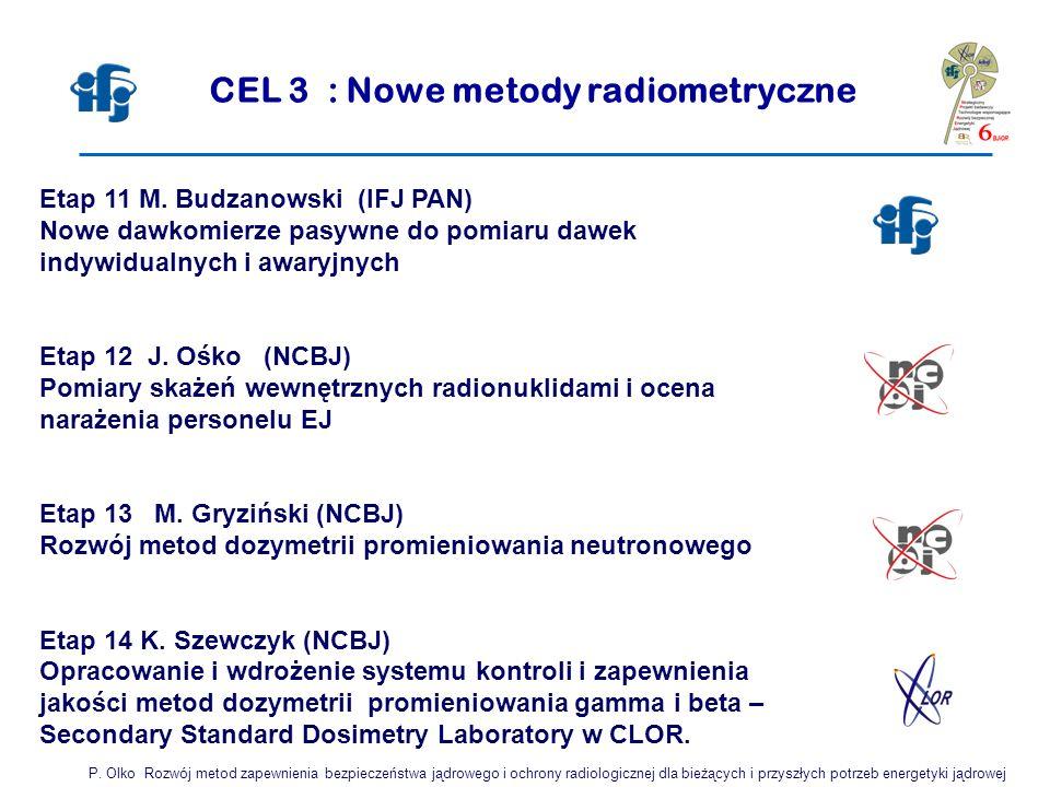 CEL 3 : Nowe metody radiometryczne Etap 11 M. Budzanowski (IFJ PAN) Nowe dawkomierze pasywne do pomiaru dawek indywidualnych i awaryjnych Etap 12 J. O