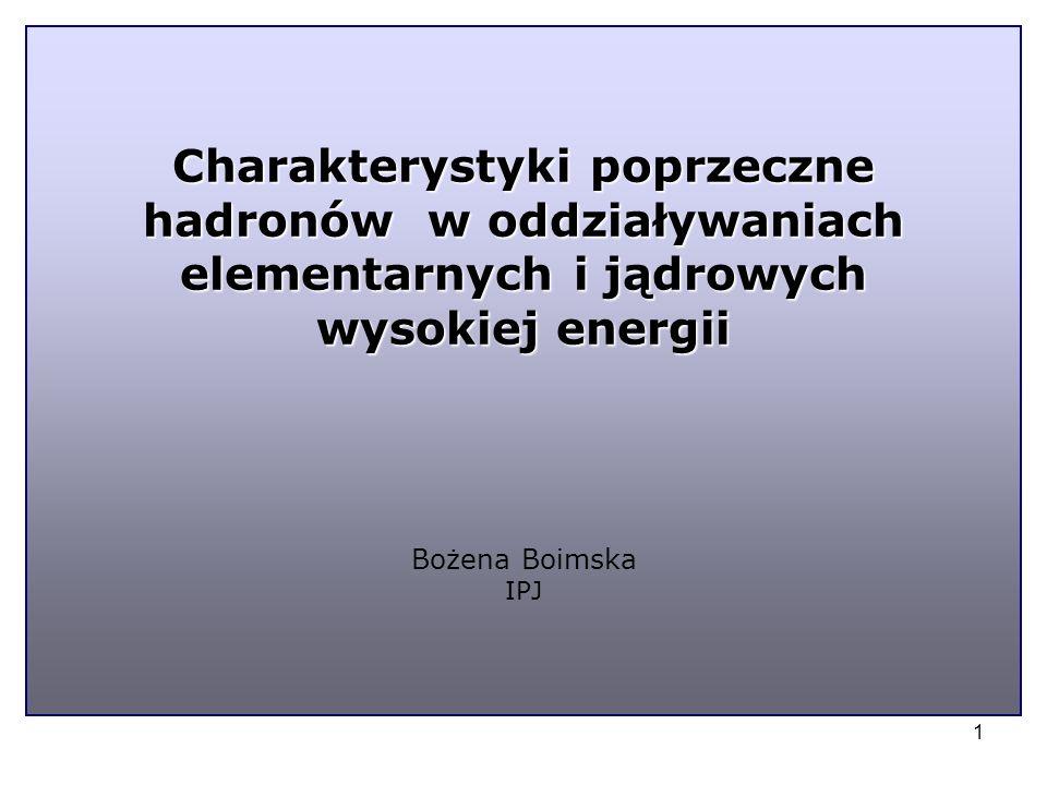 1 Charakterystyki poprzeczne hadronów w oddziaływaniach elementarnych i jądrowych wysokiej energii Charakterystyki poprzeczne hadronów w oddziaływaniach elementarnych i jądrowych wysokiej energii Bożena Boimska IPJ