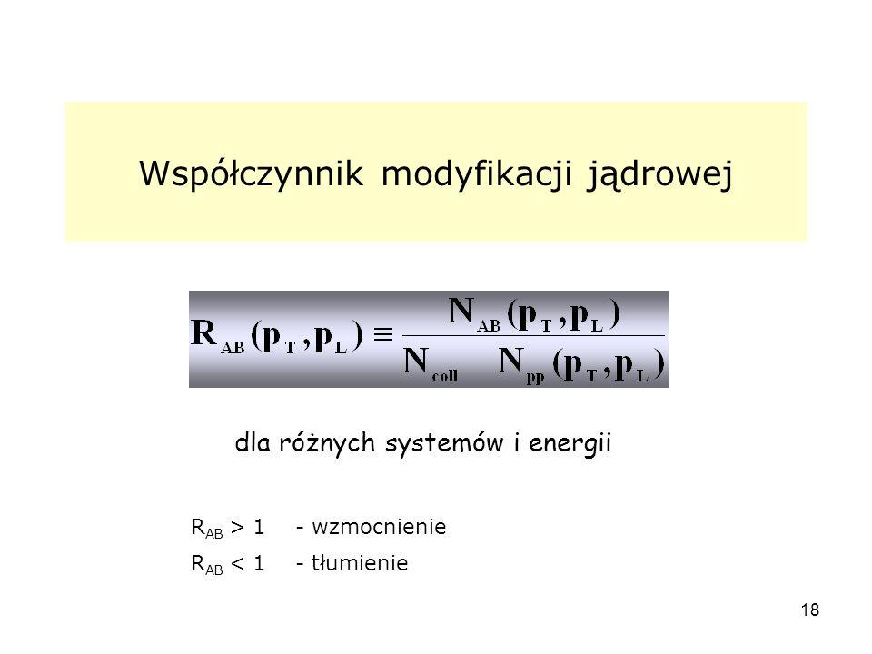 18 Współczynnik modyfikacji jądrowej R AB > 1 - wzmocnienie R AB < 1 - tłumienie dla różnych systemów i energii