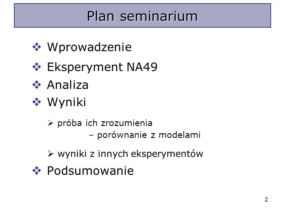 2 Wprowadzenie Eksperyment NA49 Analiza Wyniki próba ich zrozumienia – porównanie z modelami wyniki z innych eksperymentów Podsumowanie Plan seminarium
