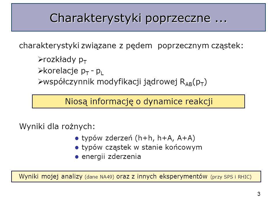 3 charakterystyki związane z pędem poprzecznym cząstek: Charakterystyki poprzeczne...