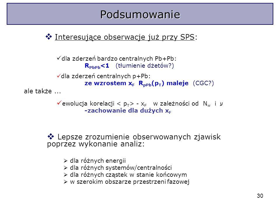30 Interesujące obserwacje już przy SPS: dla zderzeń bardzo centralnych Pb+Pb: R PbPb <1 (tłumienie dżetów?) dla zderzeń centralnych p+Pb: ze wzrostem x F R pPb (p T ) maleje (CGC?) ale także...