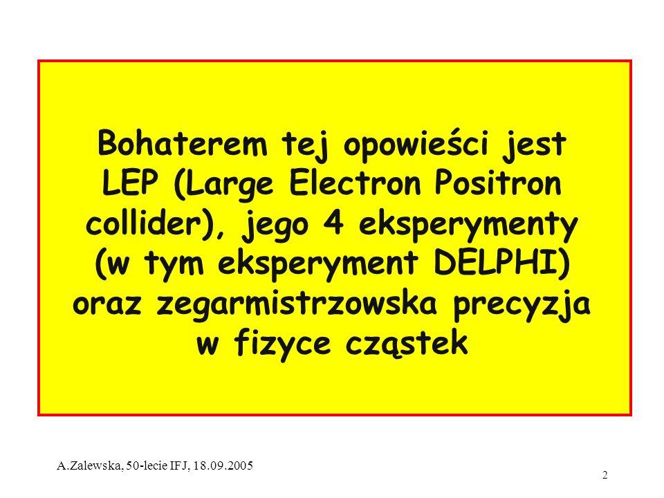 2 A.Zalewska, 50-lecie IFJ, 18.09.2005 Bohaterem tej opowieści jest LEP (Large Electron Positron collider), jego 4 eksperymenty (w tym eksperyment DEL