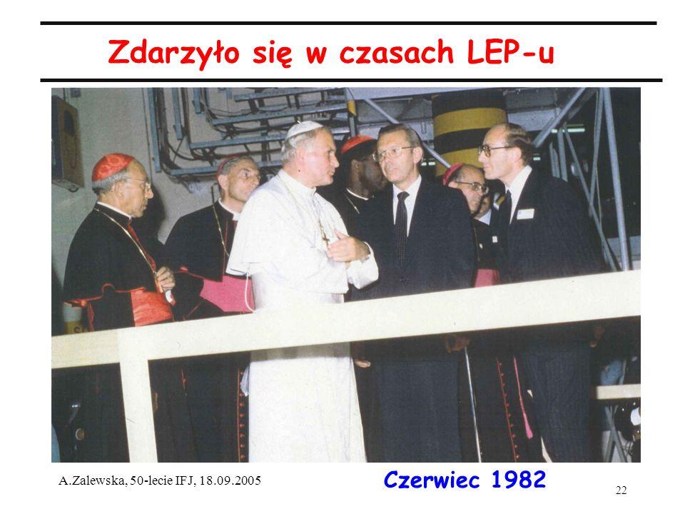 22 A.Zalewska, 50-lecie IFJ, 18.09.2005 Zdarzyło się w czasach LEP-u Czerwiec 1982