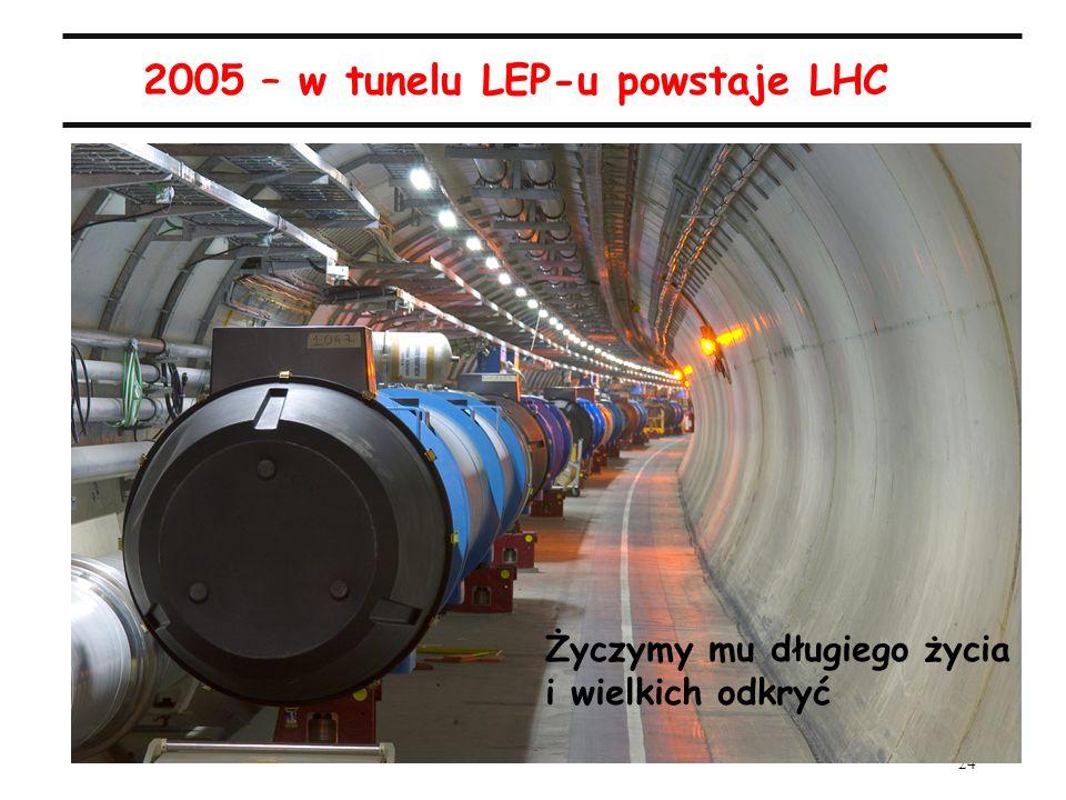 24 A.Zalewska, 50-lecie IFJ, 18.09.2005 2005 – w tunelu LEP-u powstaje LHC Życzymy mu długiego życia i wielkich odkryć