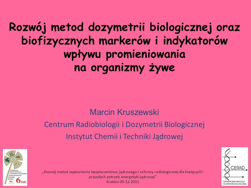 Rozwój metod dozymetrii biologicznej oraz biofizycznych markerów i indykatorów wpływu promieniowania na organizmy żywe Marcin Kruszewski Centrum Radio