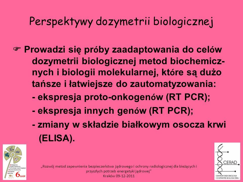 Prowadzi się pr ó by zaadaptowania do cel ó w dozymetrii biologicznej metod biochemicz- nych i biologii molekularnej, kt ó re są dużo tańsze i łatwiej