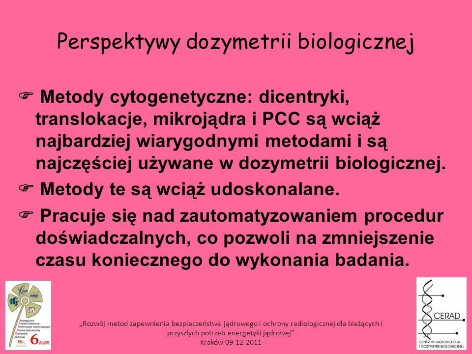 Perspektywy dozymetrii biologicznej Metody cytogenetyczne: dicentryki, translokacje, mikrojądra i PCC są wciąż najbardziej wiarygodnymi metodami i są
