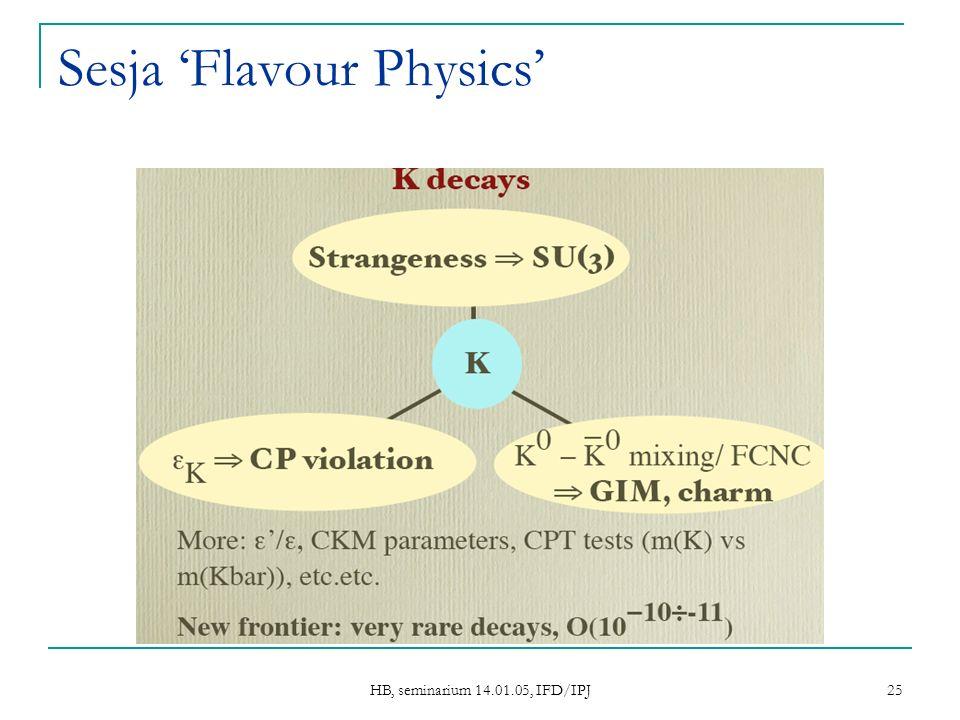 HB, seminarium 14.01.05, IFD/IPJ 25 Sesja Flavour Physics