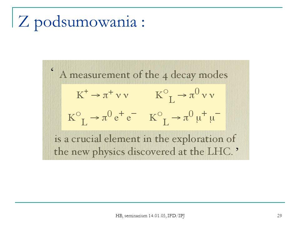 HB, seminarium 14.01.05, IFD/IPJ 29 Z podsumowania :