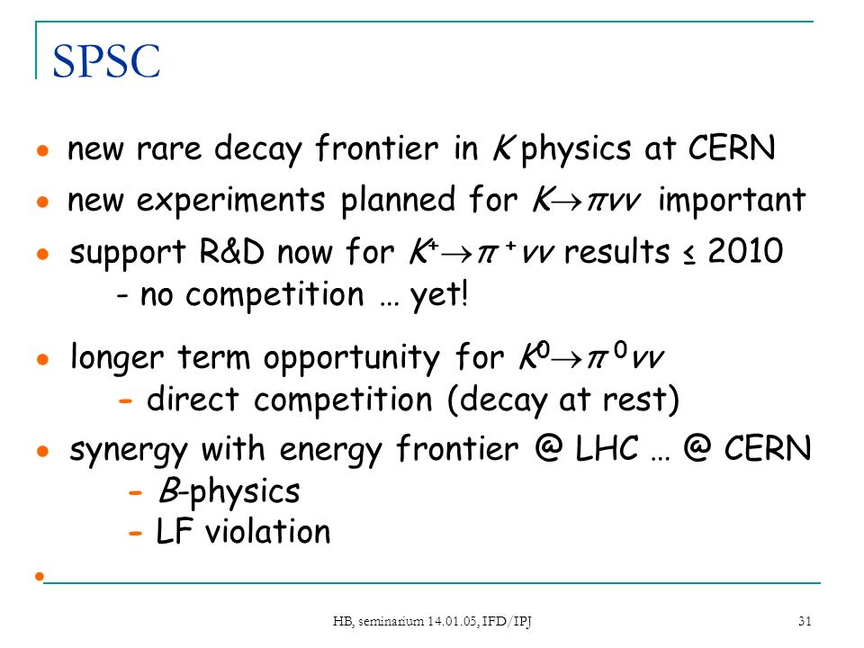 HB, seminarium 14.01.05, IFD/IPJ 31 SPSC new rare decay frontier in K physics at CERN new experiments planned for K πνν important support R&D now for K + π + νν results 2010 - no competition … yet.