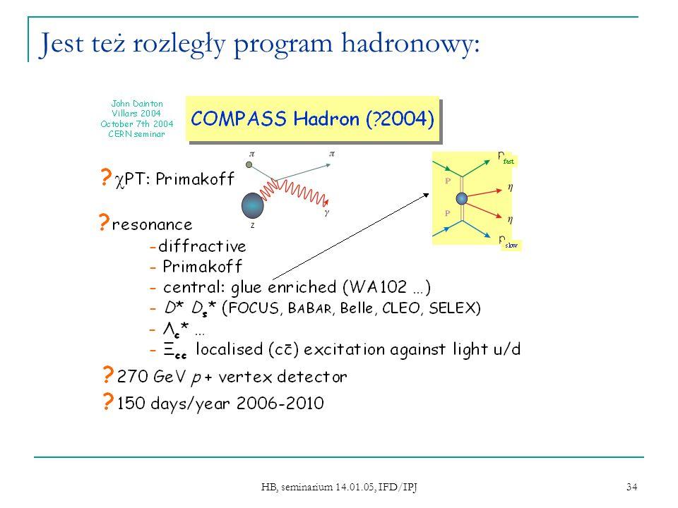 HB, seminarium 14.01.05, IFD/IPJ 34 Jest też rozległy program hadronowy:
