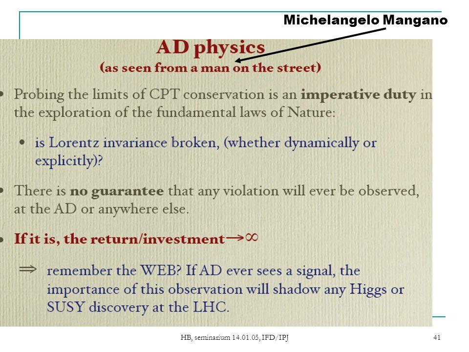HB, seminarium 14.01.05, IFD/IPJ 41 Michelangelo Mangano