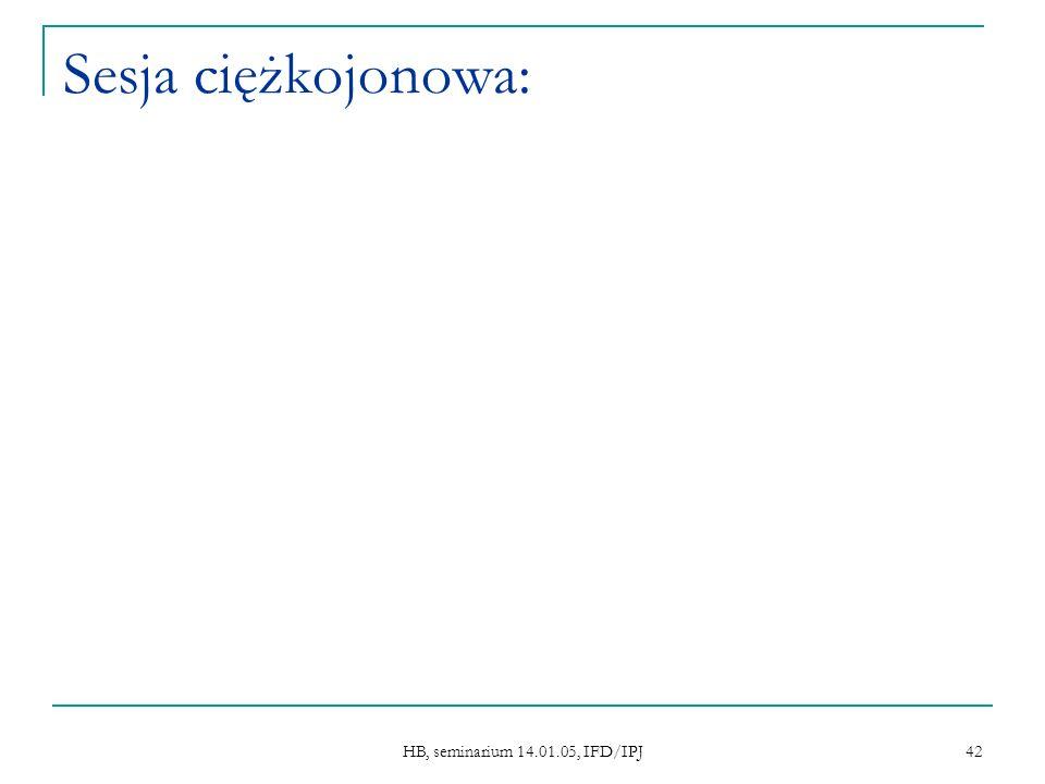 HB, seminarium 14.01.05, IFD/IPJ 42 Sesja ciężkojonowa:
